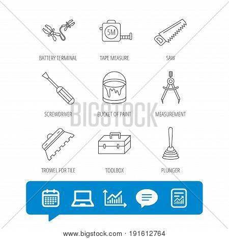 Screwdriver, plunger and repair toolbox icons. Trowel for tile, bucket of paint linear signs. Measurement, battery terminal icons. Report file, Graph chart and Chat speech bubble signs. Vector