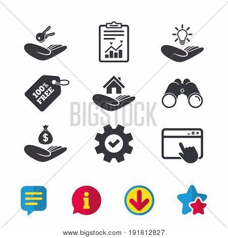 Helping hands icons. Financial money savings insurance symbol. Home house or real estate and lamp, key signs. Browser window, Report and Service signs. Binoculars, Information and Download icons