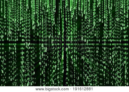 Abstract Matrix Background. Binary Computer Code. Coding and Hacker concept. Illustration Tech Background.