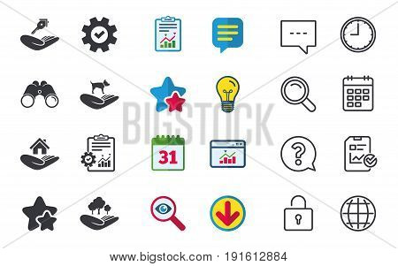 Helping hands icons. Shelter for dogs symbol. Home house or real estate and key signs. Save nature forest. Chat, Report and Calendar signs. Stars, Statistics and Download icons. Vector