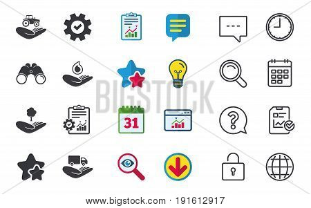 Helping hands icons. Agricultural tractor insurance symbol. Delivery truck sign. Save nature forest. Water drop. Chat, Report and Calendar signs. Stars, Statistics and Download icons. Vector