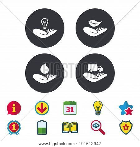 Helping hands icons. Intellectual property insurance symbol. Delivery truck sign. Save nature leaf and water drop. Calendar, Information and Download signs. Stars, Award and Book icons. Vector