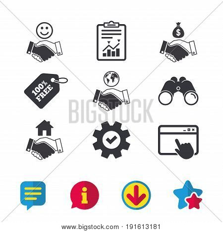 Handshake icons. World, Smile happy face and house building symbol. Dollar cash money bag. Amicable agreement. Browser window, Report and Service signs. Binoculars, Information and Download icons