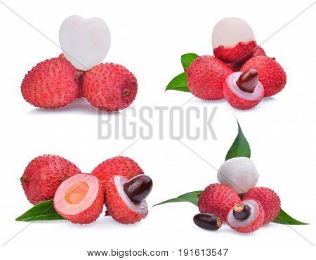 set of lychee isolated on white background