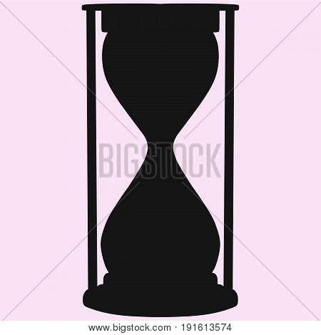 hourglass vector silhouette isolated on pink background