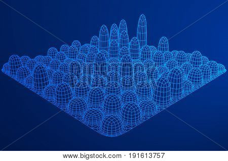 Low poly wireframe smooth mesh array like skyscraper city. Connected lines. Connection Egg Structure. Digital Data Visualization Concept. Vector Illustration.