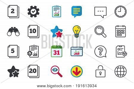 In pack sheets icons. Quantity per package symbols. 2, 5, 10 and 20 paper units in the pack signs. Chat, Report and Calendar signs. Stars, Statistics and Download icons. Question, Clock and Globe