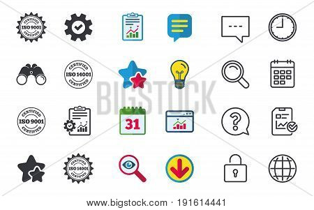 ISO 9001 and 14001 certified icons. Certification star stamps symbols. Quality standard signs. Chat, Report and Calendar signs. Stars, Statistics and Download icons. Question, Clock and Globe. Vector