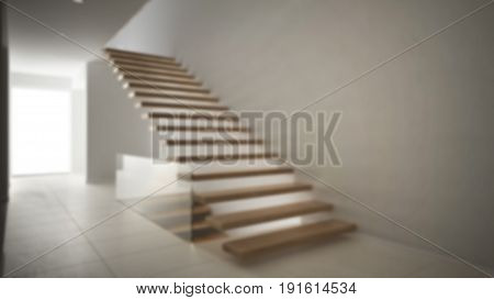 Blur background interior design modern entrance hall with wooden staircase, 3d illustration
