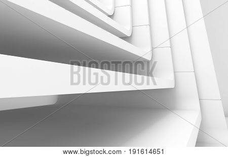 White abstract modern architecture background curved stairs structure. 3d render
