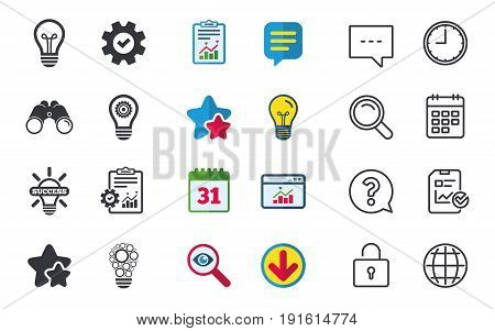 Light lamp icons. Circles lamp bulb symbols. Energy saving with cogwheel gear. Idea and success sign. Chat, Report and Calendar signs. Stars, Statistics and Download icons. Question, Clock and Globe
