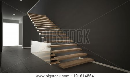 Modern entrance hall with wooden staircase minimalist gray interior design, 3d illustration