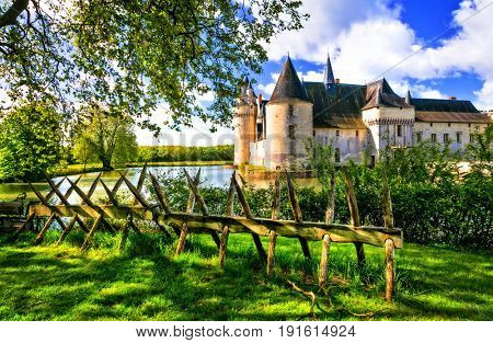Romantic medieval castles of Loire valley - beautiful Le Plessis bourre, France