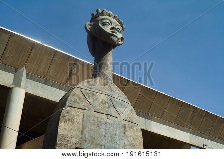 Bronze statue in Ouagadougou center, Burkina Faso