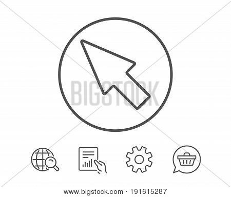 Mouse Cursor line icon. Pointer sign. Click arrow symbol. Hold Report, Service and Global search line signs. Shopping cart icon. Editable stroke. Vector