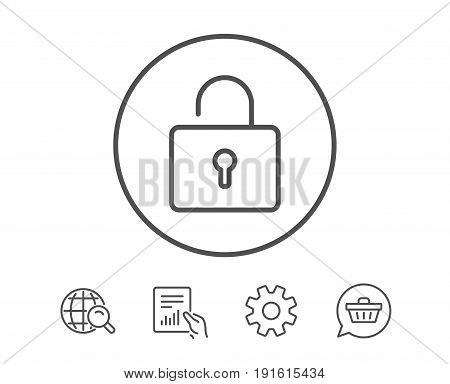 Lock line icon. Private locker sign. Password encryption symbol. Hold Report, Service and Global search line signs. Shopping cart icon. Editable stroke. Vector
