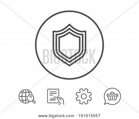Shield line icon. Protection or Security sign. Defence or Guard symbol. Hold Report, Service and Global search line signs. Shopping cart icon. Editable stroke. Vector