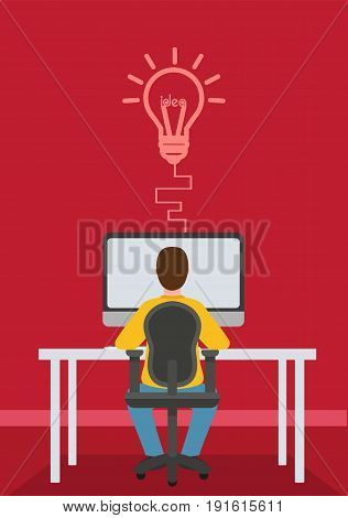 Man sitting infront of his table working on the computer having an idea. Lightbulb idea concept. Vector stock.