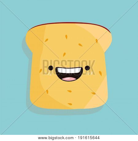 Toast kawaii cartoon cute design flat icon vector stock