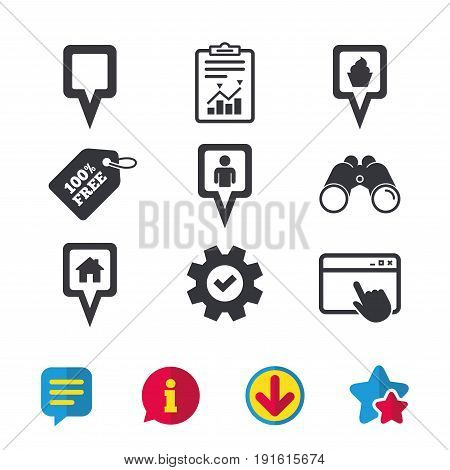 Map square pointer icons. Home, food and user location symbols. Restaurant and cupcake signs. You are here. Browser window, Report and Service signs. Binoculars, Information and Download icons