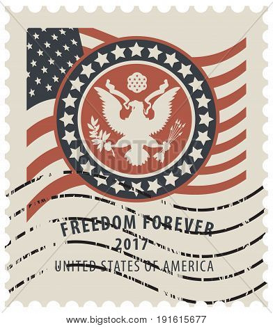 Vector USA postage stamp with the eagle on the great seal of the United States and American flag with the words freedom forever and rubber stamp in retro style.