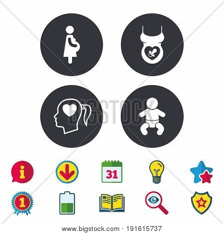 Maternity icons. Baby infant, pregnancy and dummy signs. Child pacifier symbols. Head with heart. Calendar, Information and Download signs. Stars, Award and Book icons. Light bulb, Shield and Search