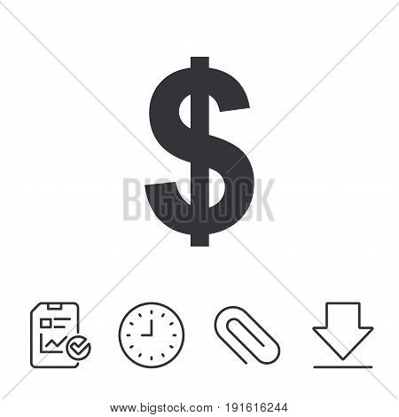 Dollars sign icon. USD currency symbol. Money label. Report, Time and Download line signs. Paper Clip linear icon. Vector