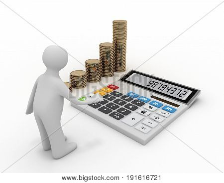 3d calculator and coins stacks . 3d rendered illustration