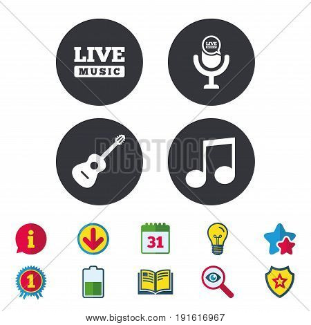 Musical elements icons. Microphone and Live music symbols. Music note and acoustic guitar signs. Calendar, Information and Download signs. Stars, Award and Book icons. Light bulb, Shield and Search