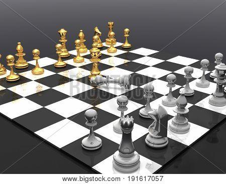 3d chess concept.  . 3d rendered illustration