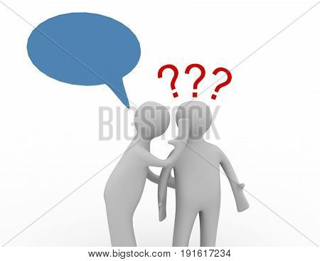 3d people - men whispers in ear with question marks. . 3d rendered illustration