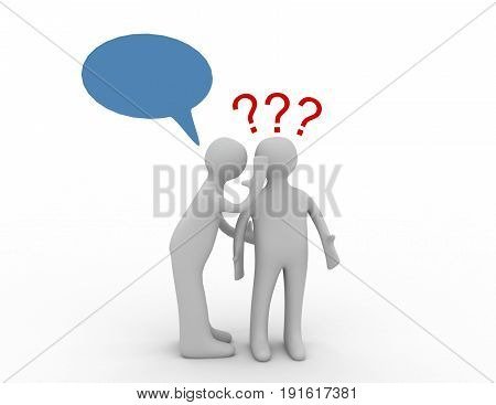 3d people - men whispers in ear and question marks. . 3d rendered illustration