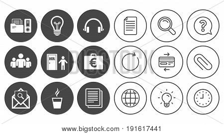 Office, documents and business icons. Accounting, human resources and group signs. Mail, ideas and money case symbols. Document, Globe and Clock line signs. Lamp, Magnifier and Paper clip icons