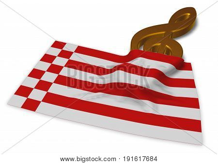 clef symbol and flag of bremen - 3d rendering
