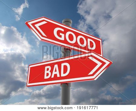 two road signs - good or bad choice . 3d rendered illustration
