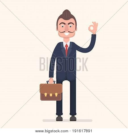 A businessman with a diplomat shows that everything is fine. Vector illustration in a flat style