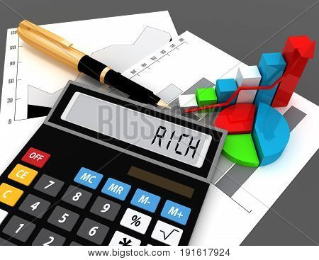 3d calculator with word rich on display . 3d rendered illustration
