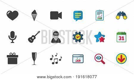 Party celebration, birthday icons. Carnival, guitar and champagne glass signs. Gift box, ice cream and love symbols. Calendar, Report and Download signs. Stars, Service and Search icons. Vector
