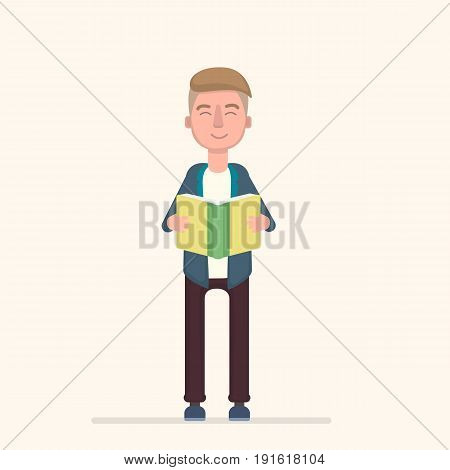The student learns, reads a textbook, reads a book, studies, Vector illustration in a flat style