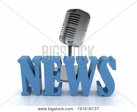 3d microphone . news concept . 3d rendered illustration