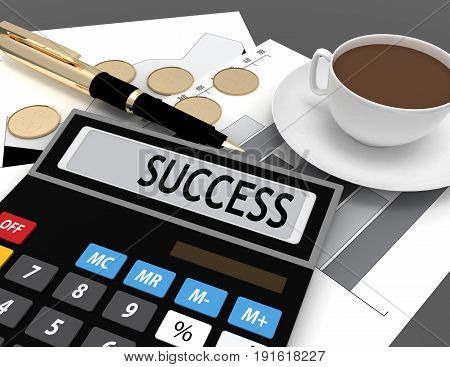 3d calculator with the word success on the display . 3d rendered illustration