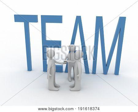 3d teamwork concept . 3d rendered illustration