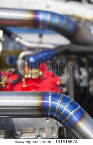 Tig welded stainless steel pipe in racing car.