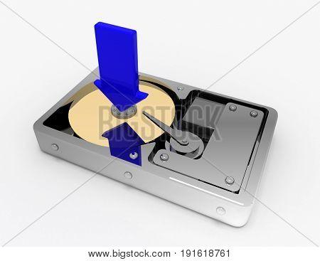 hard disk download concept . 3d rendered illustration