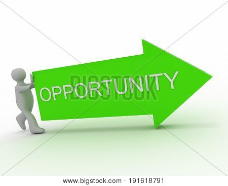 opportunity concept . man push arrow .  . 3d rendered illustration