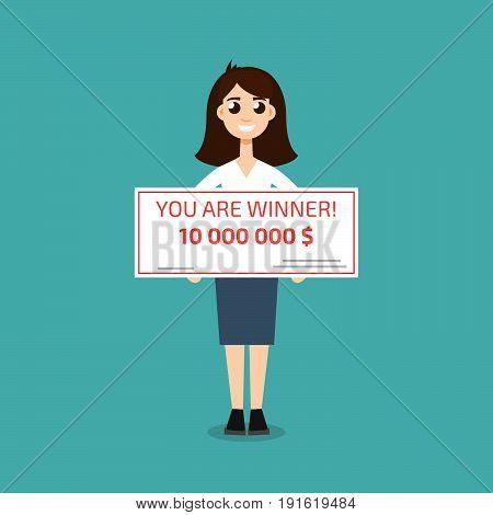 You are winner. Winner man holding check