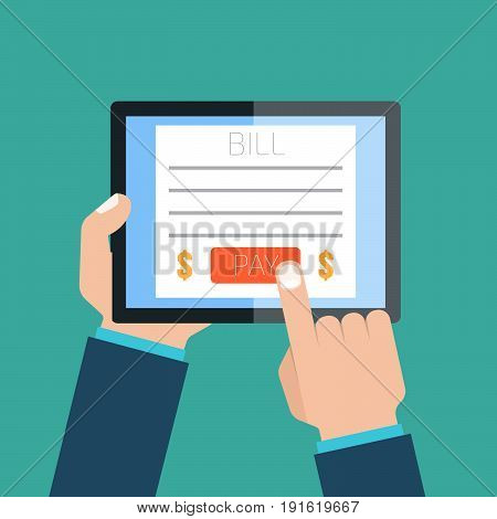 online invoice payment via tablet. Vector illustration