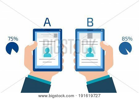 A-B comparison. Split testing. Concept computer vector illustration