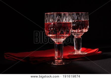Two Crystal Glasses With Red Wine