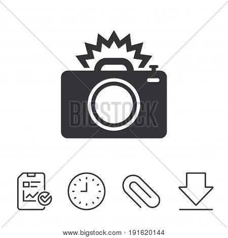 Photo camera sign icon. Photo flash symbol. Report, Time and Download line signs. Paper Clip linear icon. Vector